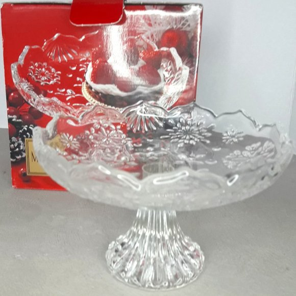 Glass Pedestal Mikasa Crystal Footed Cake Plate